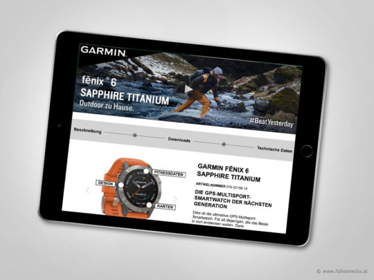 Tablet mit Website www.sportuhr.at